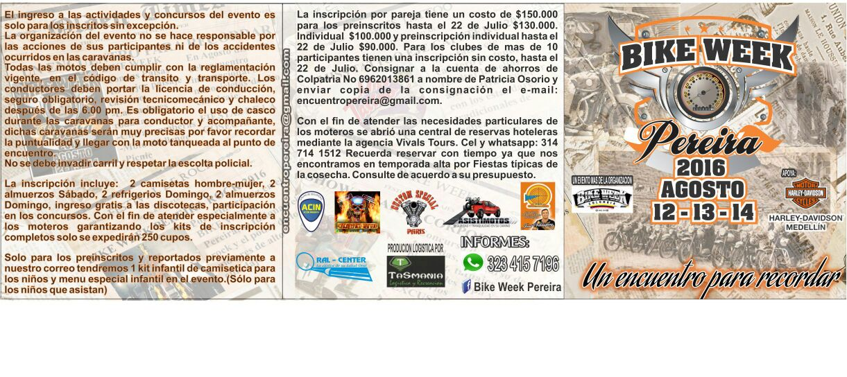 Inscripciones Bike Week Pereira 2016