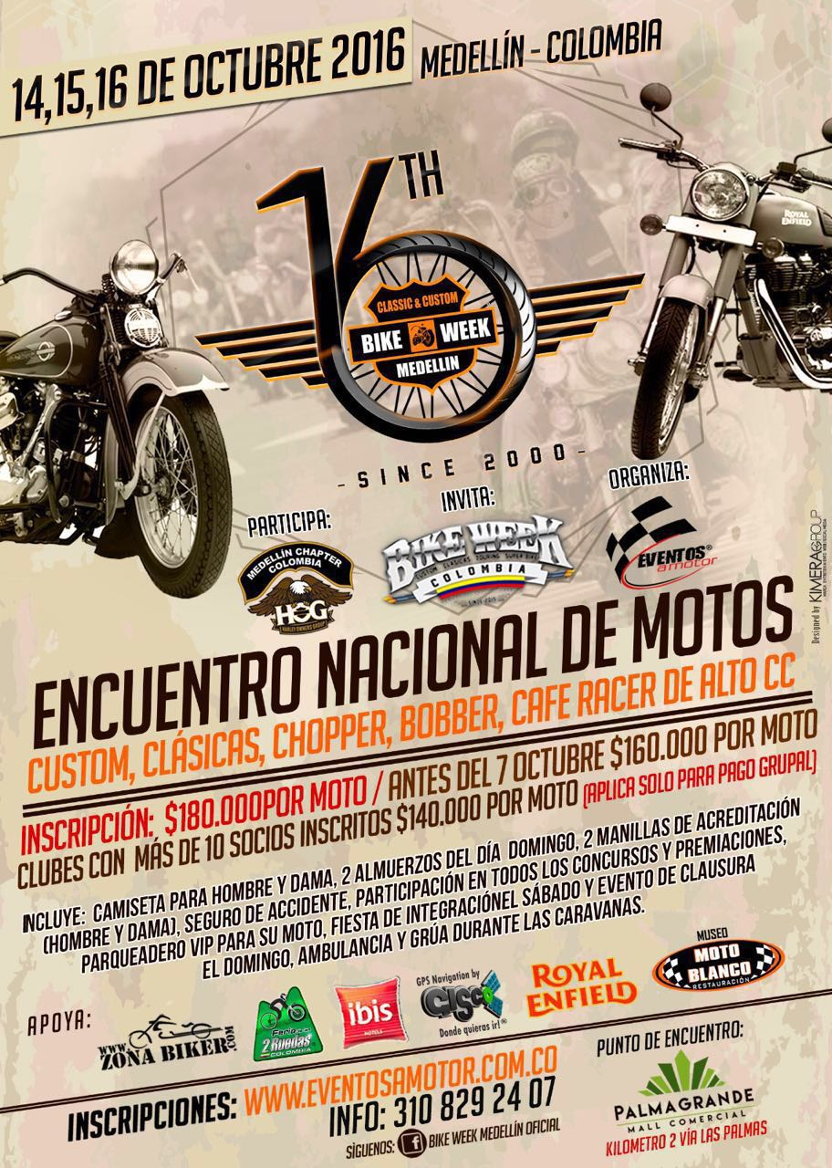 Afiche 16th Classic & Custom BIKE WEEK Medellín 2016