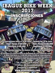 Inscripciones 11th Ibagué Bike Week 2017