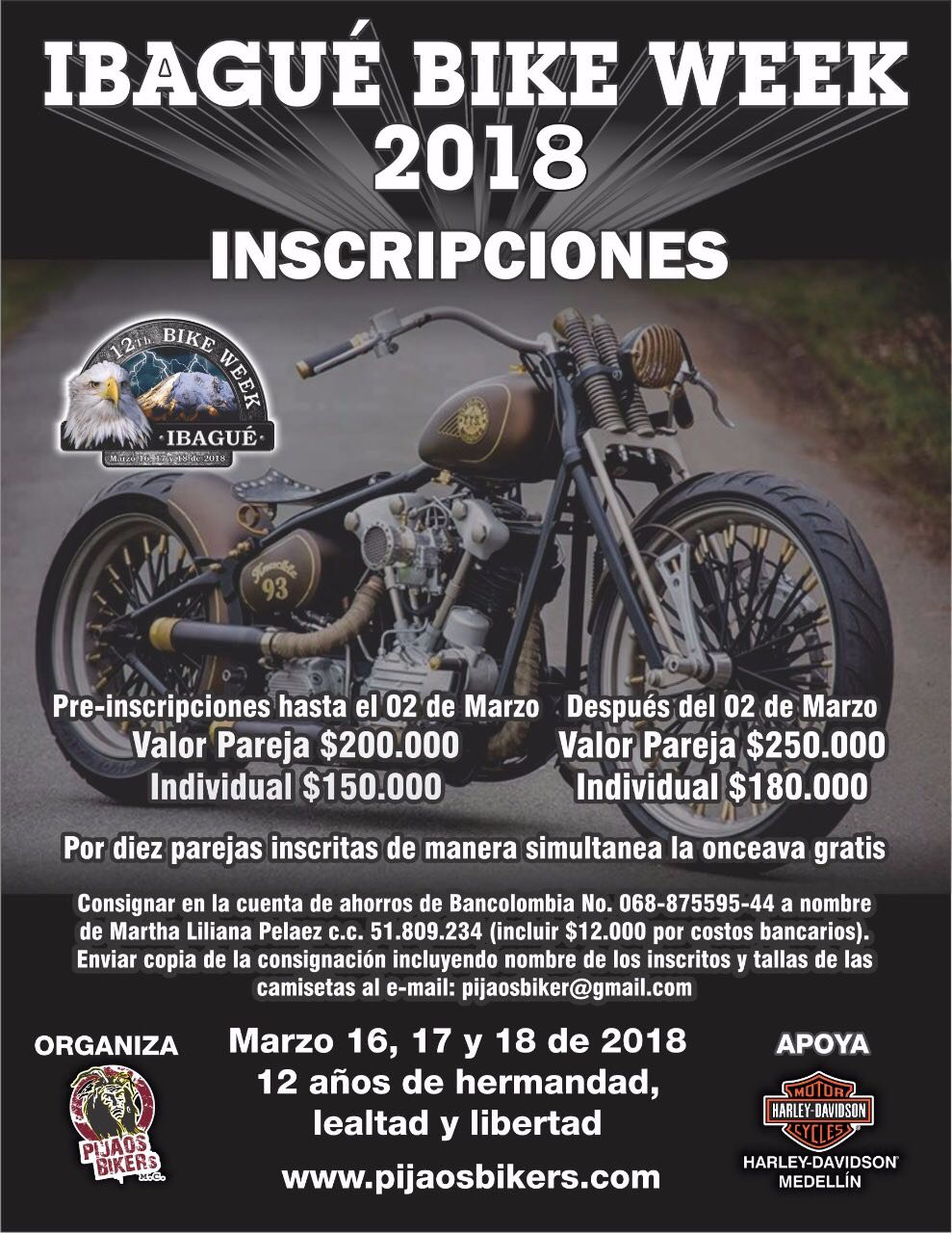 Inscripciones 12th Ibagué Bike Week 2018