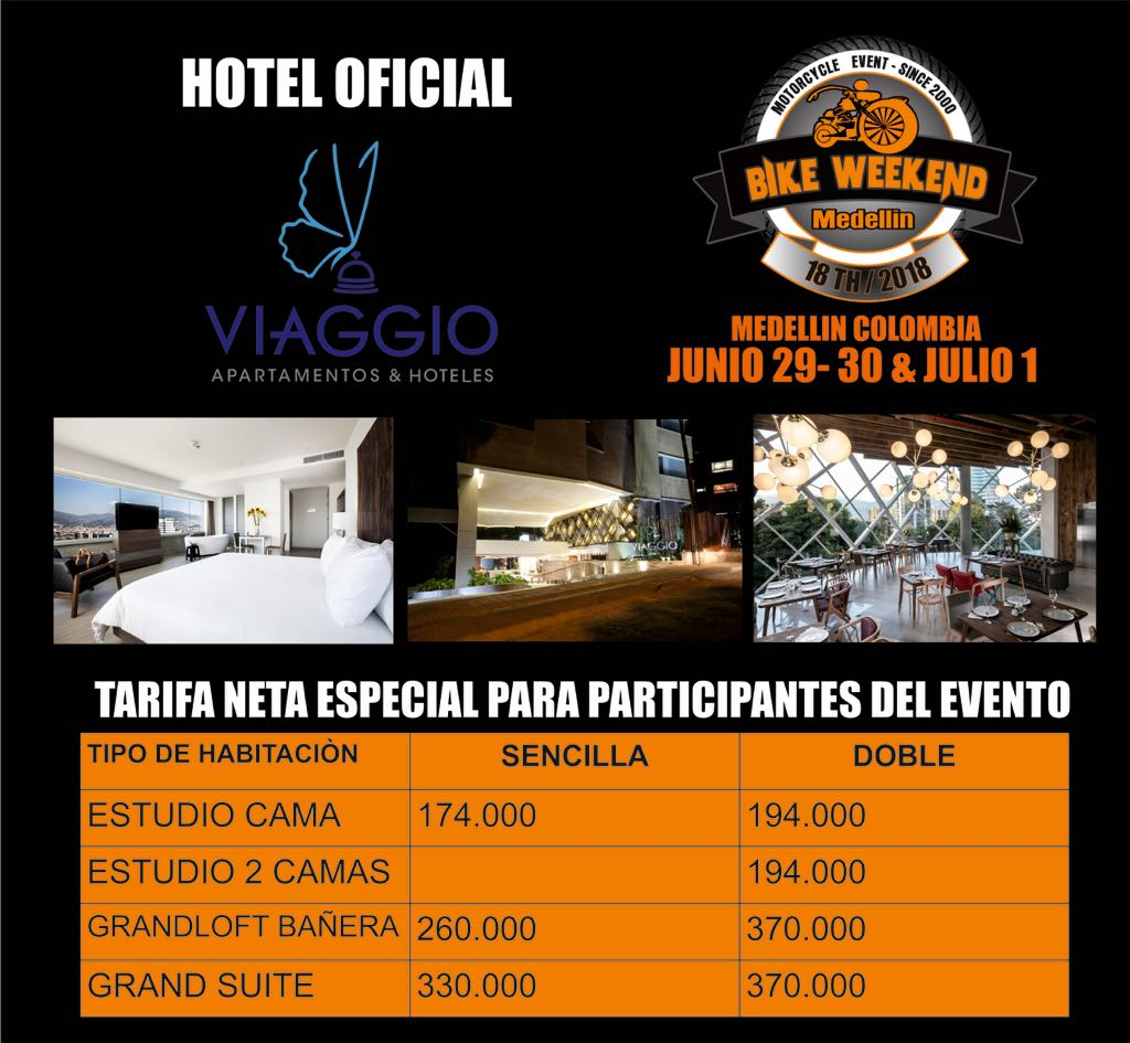 Viaggio, hotel oficial del 18th Bike Weekend Medellín 2018