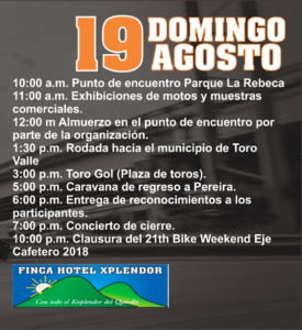 Programación del Domingo - Bike Weekend del Eje Cafetero 2018